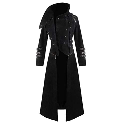 Mens Gothic Steampunk Hooded Trench Parka Party Costume Tailcoat Jacket (USS/TagL, Black)]()