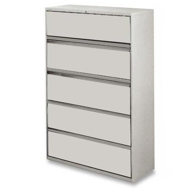 Lorell 5-Drawer Lateral File, 42 by 18-5/8 by 67-11/16-Inch, Gray