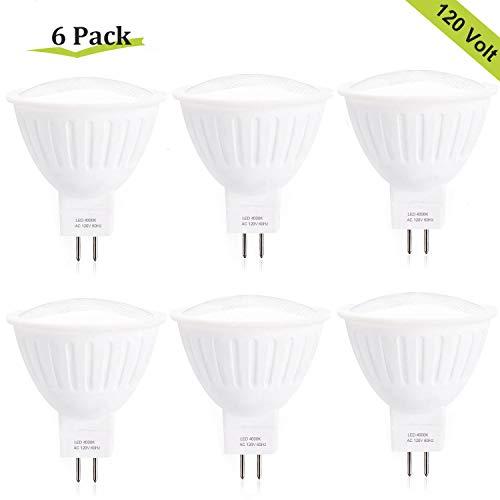 (Dimmable 7W(65W Halogen Bulb Equivalent) GU5.3 Base MR16 LED Bulb,120V 700 Lumens 120° Beam Angle 4000K Natural White LED Flood Light Bulbs for Home,Kitchen,Ceiling,Living Room,Track Lighting - 6 Pack)