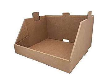 Pack de 20 Cajas de Cartón Expositor Ensamblable de Canal Simple y Color Marrón. Almacenaje