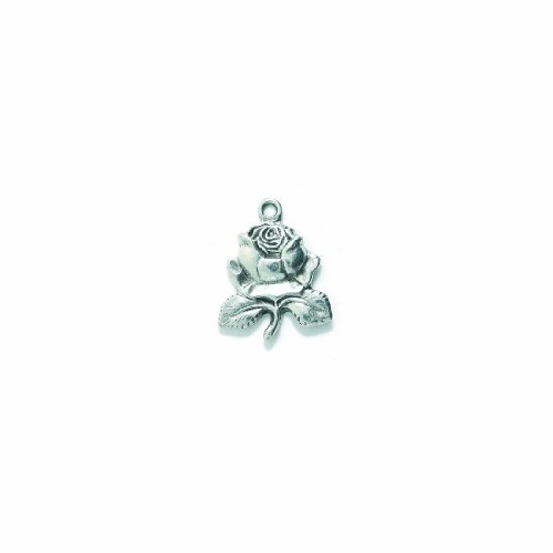Shipwreck Beads Pewter Rose Charm, Silver, 20 by 25mm, -