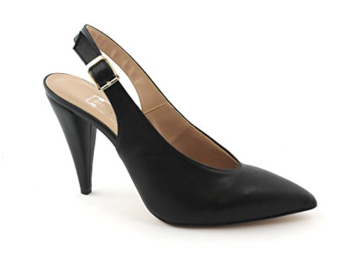 Noires Talon Dcollet Orteils Sangle 7019 Femme Nero Follie Divine Fermé Chaussures pgqZZ7
