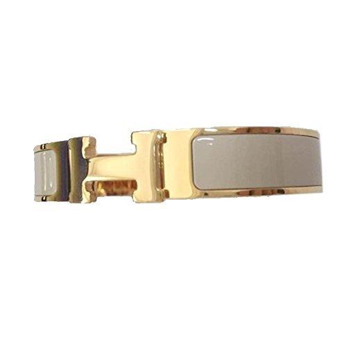 - Buckle Bangle Bracelet 12MM Color Gold/Silver White