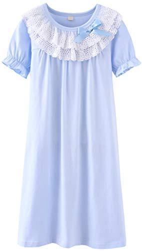 HOYMN Girls' Lace Nightgowns & Bowknot Sleep Shirts 100% Cotton Sleepwear]()