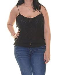 Denim & Supply Ralph Lauren Womens Lace Open Stitch Crop Top Black XL