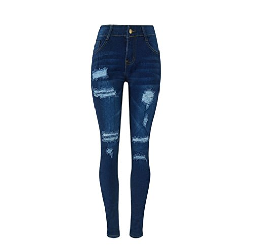 Fori Skinny Alta Vita Jeans Con Blu Da Summer Oudan A Pantaloni Donna Zipper Pa6UqBBw5x