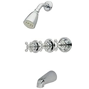 Kingston Brass KB238AX Tub and Shower Faucet with 3-Cross