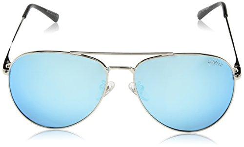 5cb152fea50 LUENX Sunglasses Aviator Polarized for Men Women with Case - 400 UV Sky Blue  Lens Metal