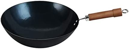 Wok Pan induction, Sauté chinois casseroles avec une excellente distribution de chaleur rapide et for une cuisson uniforme, Couvercle Pot en bois, 36cm (Size : 36cm)
