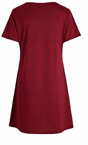 Jaycargogo Short Summer V Wine Red Solid Cross Sleeve Neck Dress Womens Shirt Criss T RqrSxR