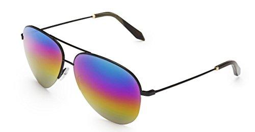 Victoria Beckham VBS98 C30 Black Rainbow Classic Victoria Large Aviator - Style Sunglasses Beckham Victoria