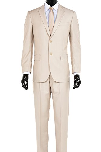 Elegant Men's Modern Fit Three Piece and Two Piece Two Button Suits - Many Colors (44 Regular, Two Piece Light Tan) - Super 150's Mens Italian Suits