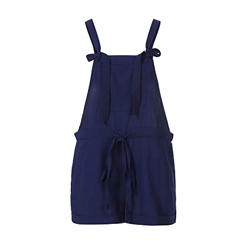 WELCOMEUNI Women's Sleeveless Dungarees Loose Lace Up Cotton Shorts Playsuit Jumpsuit Pants (M, ()