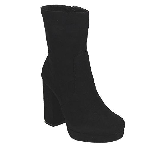 Beston EI87 Women's Side Zipper Wrapped Platform Chunky Heel Ankle Vegan Booties, Color:BLACK SUEDE LOW, Size:8.5 (Womens Platform Heel Block)