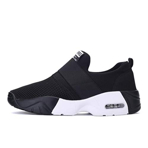 JOYBI Women Casual Fashion Sneakers Air Mesh Breathable Trainers Round Toe Tenis Slip On Cozy Walking Shoes Black