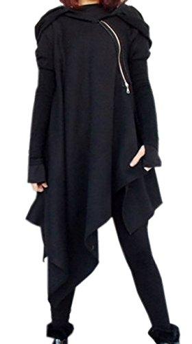 Damen-Art und Weise Kapuzenshirt Normallacks Unregelmäßiger Hoodie Reißverschluss Tunika Lange Hülse Mäntel