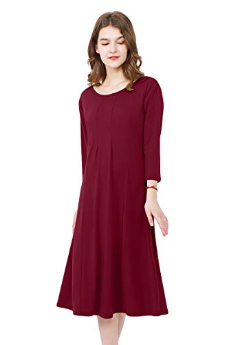 Trapeze Cocktail - YMING Women's Casual Swing Dress 3/4 Sleeve Calf Dress Flare Cocktail Dress Wine Red M