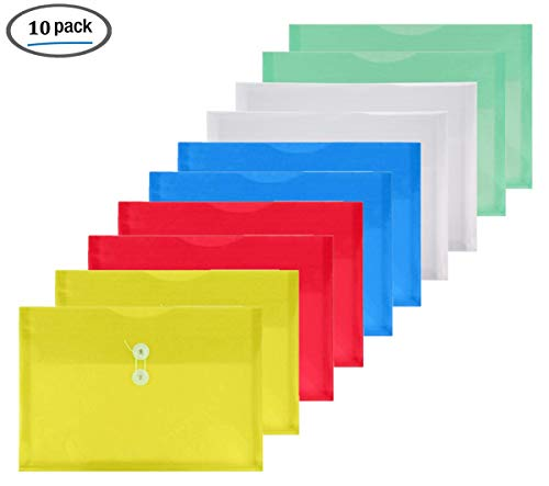 YoeeJob 10 PCS Poly String Tie Closure Envelopes Folder with Expandable Gusset Side Loading Legal Size,Assorted Color