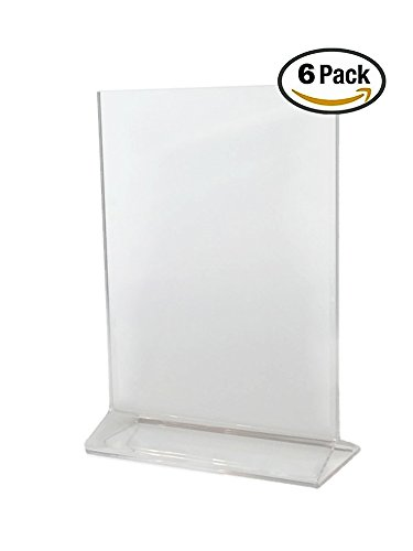 - Cristil (Pack of 6) 5x7 Acrylic Menu Holder/Upright Sign Holder/Clear Table Card Display/Plastic Photo Frame/Wedding Picture Stand