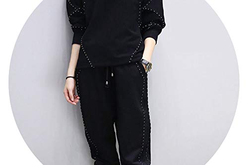 (Plus Size s Two ce Set Long sles O Neck Pullover Tops+Long Pants Young y Sportswear Suit 896,Black,L)