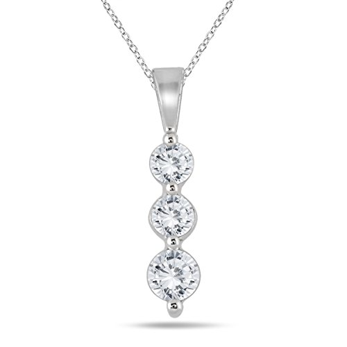 AGS Certified 1/2 Carat TW Three Stone Diamond Pendant in 10K White Gold