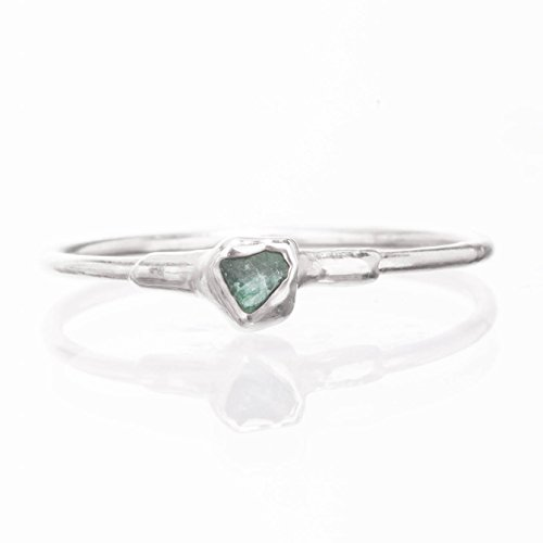 (Size 6 Dainty Raw Emerald Ring, Sterling Silver, May Birthstone Jewelry)