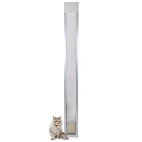 PetSafe Freedom Aluminum Patio Panel Sliding Glass Dog and Cat Door, Adjustable 76 13/16 in to 80 11/16 in - Small Satin Pet Door (Glass Enclosed Patio)