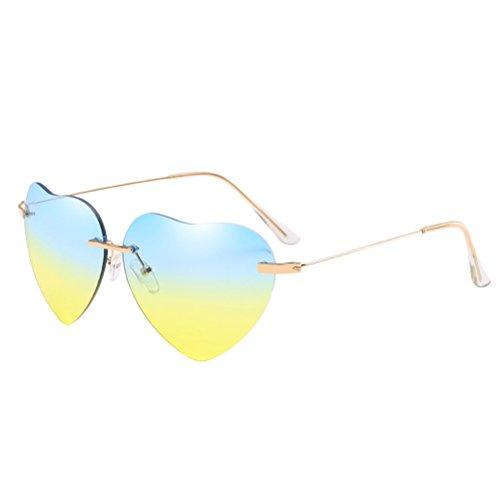 de Soleil Forme Sans Fille Monture Lunettes Cas Sunglasses amp;yellow Coeur Zhhlinyuan Métal Des de Avec Femme Armature Blue en Mince Plage Womens Qualité xzqY4XI
