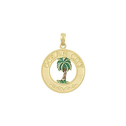 Gold Enamel Palm Tree - 14k Yellow Gold Travel Charm Pendant, Ocean City with Green Enamel Palm Tree Center