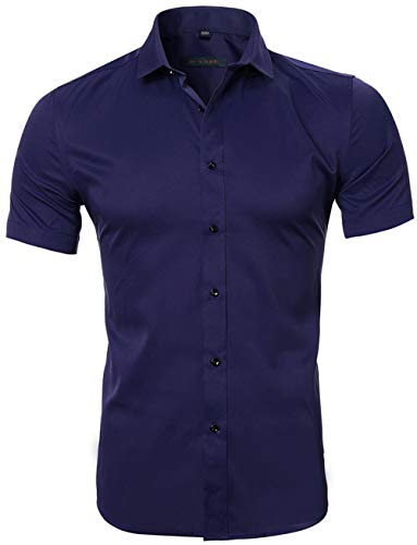 INFLATION Men's Bamboo Fiber Dress Shirts Slim Fit Short Sleeve Casual Button Down Shirts  Elastic Formal Shirts Navy Blue US Size M ()