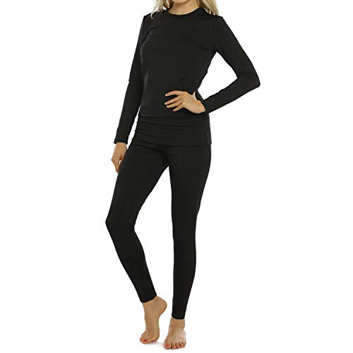 Womens Thermal Underwear Set Long Johns with Fleece Lined Ultra Soft Top & Bottom Base Layer for Women Black