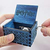HP Music Box - Nostalgish - Hand Crank Wooden Musical Box - Unique Gift (Blue, HP)