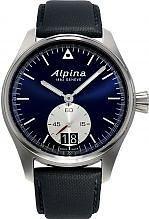 Alpina Startimer Pilot Herren-Armbanduhr 44mm Armband Leder Blau GehÄuse Edelstahl Batterie AL-280NS4S6