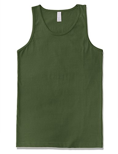 JD Apparel Men's Premium Basic Solid Tank Top Jersey Casual Shirts L Military Green -