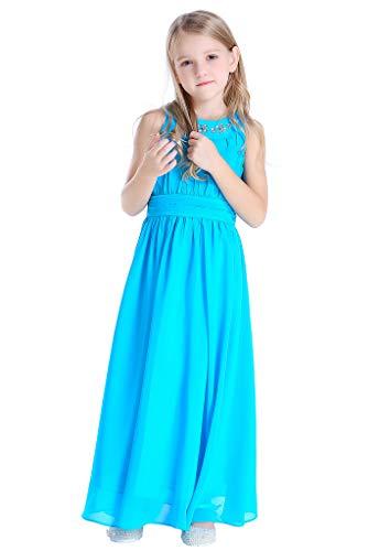 Happy Rose Chiffon Long Junior Bridesmaid Dress Aqua Blue 14 ()