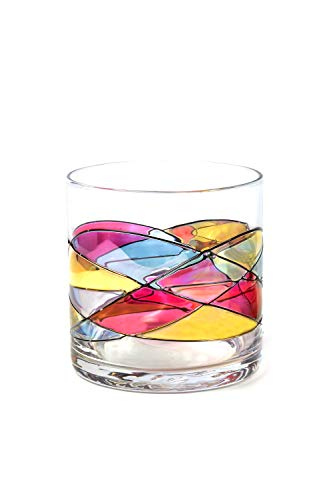 ANTONI BARCELONA Whiskey Glass 12Oz (RED,SET 1) Sagrada Line Hand-Made & Mouth Blown Unique gifts and spiritual moments on the rocks stunning and gorgeous colorful glasses