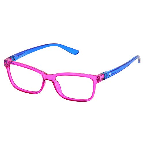 (Bunny Eyez Erin Wearable, Tilt-able, Flip-able Women's Reading Glasses (Ultra Pink with Electric Blue Temples, 2.00))