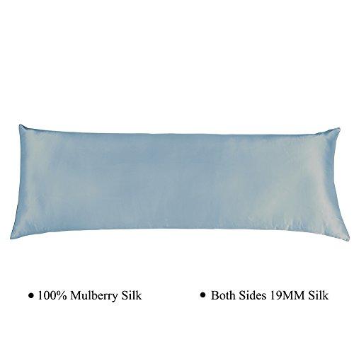 Blue Silk Pillow - Cozysilk Silk Body Pillowcase with Zipper, 100% Silk on Both Sides, 19mm Zippered Silk Body Pillow Cover Pillow Case (20 x 54, Grey Blue)