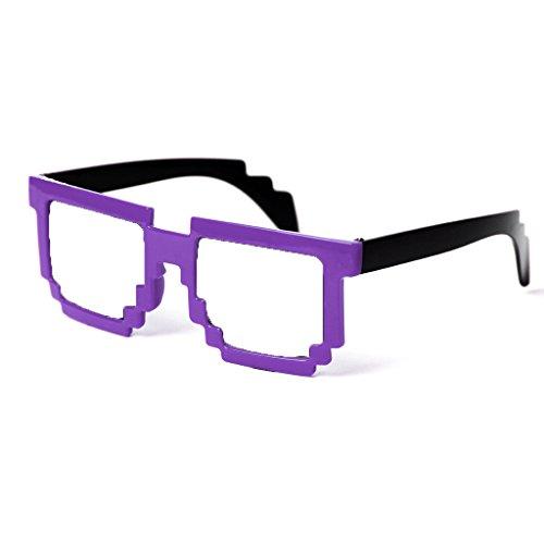 Block 8-bit Pixel Sunglasses Video Game Geek Party Favors (Purple, - Purple Geek Glasses