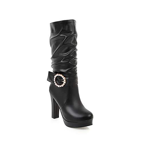Stivali Stivali Black Black Black Tacco da Largo Donna con Tacco Medio Tacco a Medio vrtfqPwr