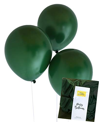 Dark Black Deep Green 50pcs Matt Finish Toy 12 inch, 3.2g Balloon, Garden, Zoo Story, Animal, Jungle, Flower, Wedding, Bridal, Forest Party (Black Green 50)