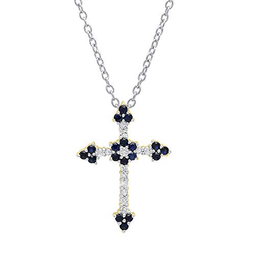 Dazzlingrock Collection 18K Round Blue Sapphire & Diamond Ladies Floral Cross Pendant (Silver Chain Included), Yellow Gold Blue Sapphire Gold Cross