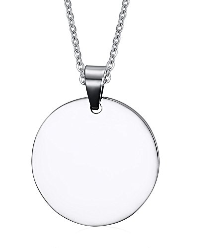 Mealguet Jewelry MG Free Engraving- Stainless Steel Round Shaped High Polished ID Tag Blank Plain Dogtag Pendant for Pets/People