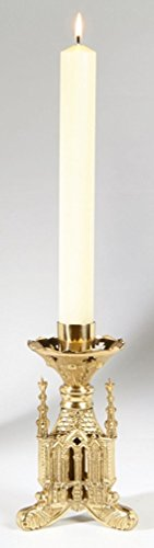San Pietro Collection Polished Brass Altar Candlestick, 8 Inch