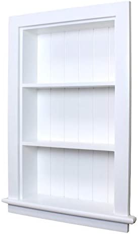 14×24 White Recessed Aiden Wall Niche w Beadboard Back by Fox Hollow Furnishings – Also Available in Dark Brown and Unfinished