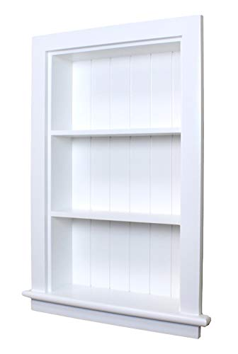 14x24 White Recessed Aiden Wall Niche w/Beadboard Back by Fox Hollow Furnishings - (Also Available in Dark Brown, Gray, and Unfinished)