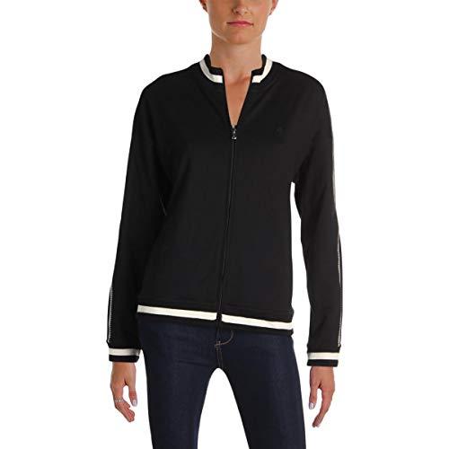 (Lauren Ralph Lauren Womens Casual Mock Neck Jacket Black-Ivory L)
