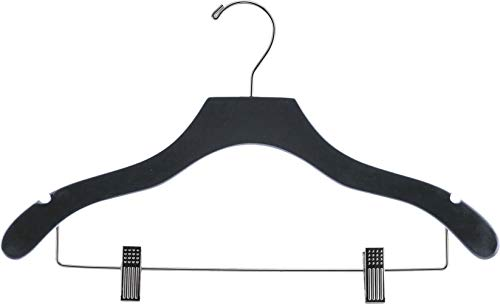The Great American Hanger Company Wooden Combo Black Finish Hanger with Clips and Notches (Box of 25)