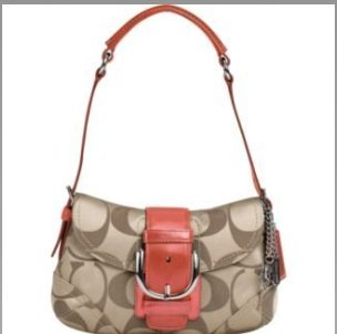 Coach Signature Soho Flap Shoulder Bag 13042 Khaki & Coral