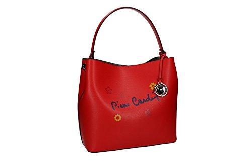 Bolsa mujer de mano PIERRE CARDIN rojo cuero Made in Italy VN1430